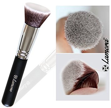 Foundation Makeup Brush Flat Top Kabuki for Face - Perfect For Blending Liquid, Cream or Flawless Powder Cosmetics - Buffing, Stippling, Concealer - Premium Quality Synthetic Dense Bristles!