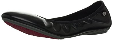 Hush Puppies Women's Chaste Ballet Flat,Black Leather,7.5 M US
