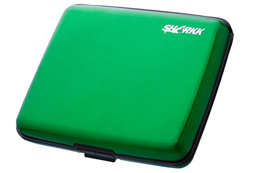 SHARKK LARGE Aluminum Wallet Credit Card Holder With RFID Protection - Fits Bills (Green)