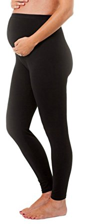 Stretch Maternity Leggings Seamless Solid Color Nursing Clothes Tights, Black, One Size