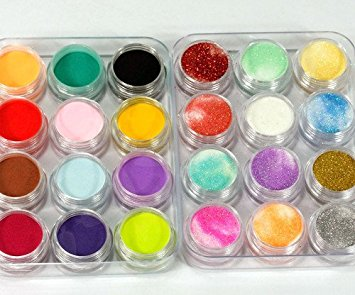 350buy 24 Colors 3D Nail Art Glitter Acrylic Powder Decoration (B)