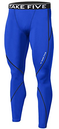 New Men Sports Apparel Skin Tights Compression Base Under Layer Long Pants (L, NP509 BLUE)