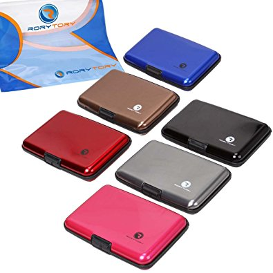 RoryTory 6pc Solid Color RFID Protection Aluminum Credit Card Wallet Case Organizer Set