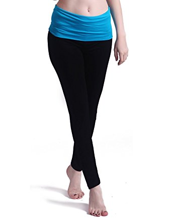 HDE Women's Maternity Yoga Pants Stretch Pregnancy Leggings Fold Over Waistband (Black with Light Blue, Medium)
