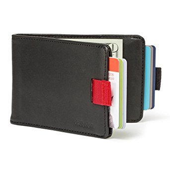 Distil Union Wally Bifold Slim Leather Wallets for Men - Money Clip, Credit Card Holder, Billfold (Ink with Flexlock)