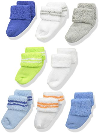Luvable Friends Baby 8 Pack Newborn Socks, Blue, 0-6 Months