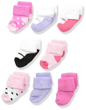 Luvable Friends Baby 8 Pack Newborn Socks, Pink Shoes, 0-6 Months