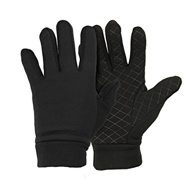 Men's Moisture Wicking Micro-fleece Running Sport Gloves - Color: Black  Size: Medium