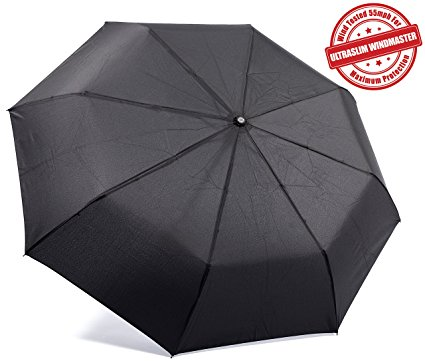 Kolumbo UltraSlim WindMaster Wind Tested 55MPH Travel Umbrella with Auto Open Close