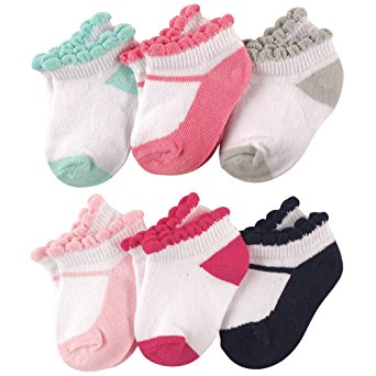 Luvable Friends Baby 6-Pack No Show Ankle Socks, Mary Janes, 6-12 Months