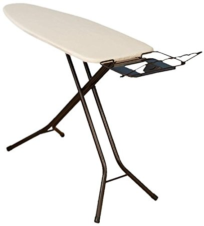 Household Essentials Extra Wide Top 4-Leg Large Ironing Board with Natural Cotton Cover and Iron Holder Stand, Bronze