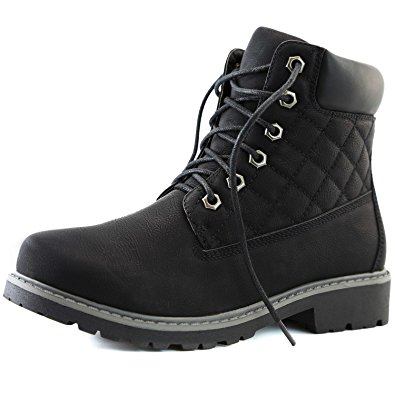 Women's DailyShoes Lace-Up Ankle Padded Collar Work Combat Hard Toe Booties Quilted Black Black, 7.5