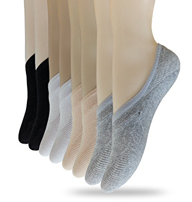 Eedor Women's 8 Pack Thin Casual No Show Socks Non Slip Flat Boat Line
